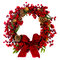 Stock Image : Red Berry and Pine Cone Wreath with Bow