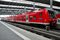 Stock Image : Red commuter train parked at Munich station, Germany