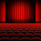 Stock Image : Red Curtains Theater Stage