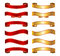Stock Image : Red & gold ribbon banner basic collection set