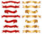 Stock Image : Red & gold ribbon banner fancy collection set
