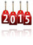Stock Image : Red hanging tags with the 2015 year digits