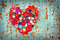 Stock Image : Red heart from Vintage buttons