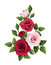 Stock Image : Red and pink roses. Vector illustration.