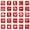 Stock Image : Red stitched social media Icons