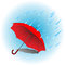 Stock Image : Red umbrella in rain