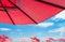 Stock Image : Red Umbrellas