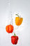 Stock Image : Peppers and water splash