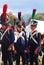 Reenactors dressed as Napoleonic war soldiers at Borodino
