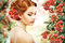 Stock Image : Relaxation. Profile of Red Hair Beauty over Natural Floral Background. Nature. Blossom