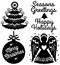Stock Image : Retro Christmas Clip Art Set