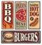 Stock Image : Retro fast food tin signs