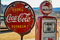 Stock Image : Retro gas pump and rusty coca-cola sign on route 66