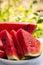 Stock Image : Ripe sliced watermelon closeup