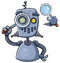 Stock Image : Robot Using Magnifier