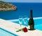 Stock Image : Romantic picnic near pool in mediterranean resort