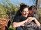 Stock Image : Romantic woman & man enjoying picnic outdoors coun