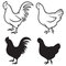 Stock Image : Rooster (cock) and chicken