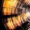 Stock Image : Rotating Yellow and Black Circular Light Blur