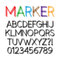 Stock Image : Rounded Bold Marker Pen Font and Numbers