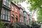 Row of colourful brick houses, Dublin, Ireland