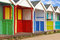 Stock Image : Row of old wooden beach huts