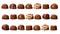 Stock Image : Rows of chocolate pralines