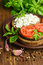 Stock Image : Rustic food : sandwiches of rye bread with cheese, tomato and basil