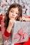 Stock Image : Sad little girl at Christmas