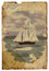 Stock Image : Sailboat at sea. Old postcard. Isolated