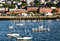 Stock Image : Sailboats in Harbor with Portland in Background