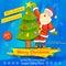 Stock Image : Santa Claus decorating Christmas tree