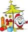 Stock Image : Santa claus standing by christmas tree