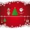 Stock Image : Santa reindeer tree twine snow background