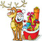 Stock Image : Santa sits on a reindeer drags sleigh