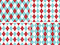 Stock Image : Seamless Argyle Patterns Aqua Blue, Red with Solid Silver Line