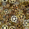 Stock Image : Seamless background of bronze gears wheels.
