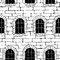 Stock Image : Seamless brick wall with windows, background (drawn with ink).