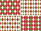 Stock Image : Seamless Christmas Argyle Patterns in Green and Red