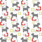 Stock Image : Seamless kids pattern texture with pixel dogs and geometric elem