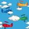 Stock Image : Seamless airplane pattern