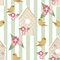 Stock Image : Seamless pattern with birdhouses and birds on striped