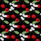 Stock Image : Seamless pattern with cherry anf flowers on black