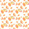 Seamless pattern with colorful hand drawing autumn leaves