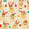 Stock Image : Seamless pattern with cute Easter rabbits