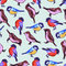 Stock Image : Seamless pattern with cute little birds