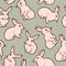 Stock Image : Seamless pattern with cute white rabbits