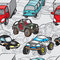 Stock Image : Seamless pattern of drawings of cars