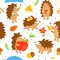 Stock Image : Seamless pattern with simple cute hedgehogs