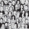 Stock Image : Seamless pattern unrecognizable people faces in crowd